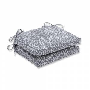 Pillow Perfect Outdoor/ Indoor Herringbone Slate Squared Corners Seat Cushion (Set of 2) (20x20x3)