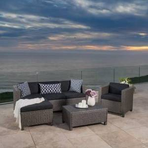Christopher Knight Home Puerta Outdoor 6-piece Wicker L-Shaped Sectional Sofa Set with Cushions by Christopher Knight Home (Grey)