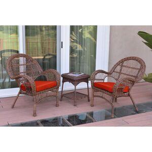 Jeco 3-piece Santa Maria Honey Steel and Wicker Chair Set (Blue)