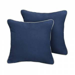 Humble and Haute Humble + Haute Sunbrella Canvas Navy Indoor/Outdoor Corded Pillow Set of 2 (22 in h x 22 in d)