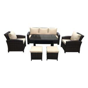Bestsign Intl Atrani Dark Brown and Beige 6-piece Outdoor Conversation and Dining Set