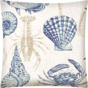 Joita, llc Joita UNDER THE SEA Navy Indoor/Outdoor - Zippered Pillow Cover (Set of 2 - tan, natural, navy)