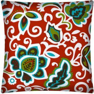 Joita, llc Joita DANCING FLOWERS Red Indoor/Outdoor - Zippered Pillow Cover (Set of 2 - red, aqua, white, kiwi green)