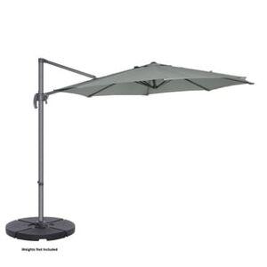 Trademark Global Villacera 10' Cantilever Umbrella with 360 Degree Pole Vertical Tilt, Base Included (Grey)