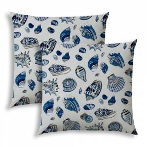 Joita, llc TIDE IS OUT Indoor/Outdoor Pillows - Sewn Closure (Set of Two) (navy, blue, taupe, white)