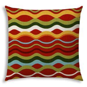 Joita, llc ROCKIN' WAVES Red Indoor/Outdoor Pillow - Sewn Closure (deep red, white, kiwi, aqua, gold, white)