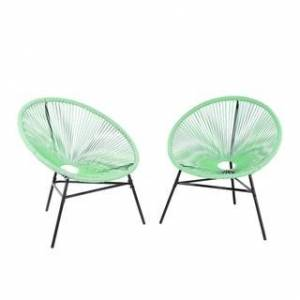 Avandeo Set of 2 Accent Chairs ACAPULCO (Green - Rattan)