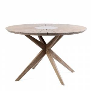 Armen Living Oasis Outdoor Patio Eucalyptus Round Dining Table with Grey Super Stone (Dark)