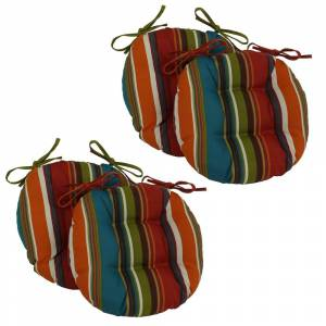 "Blazing Needles 16-inch Indoor/Outdoor Chair Cushion (Set of 4) - 16"" (Valeda Blueberry)"
