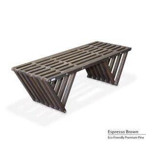 "GloDea Wood Bench X90, Modern style L 54"" Made in America (Espresso Brown)"