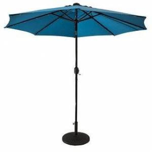 Sun Ray 9' Round Solar Lighted Umbrella, Base Not Included (Blue)