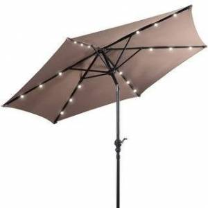 Overstock 9FT Patio Solar LED Patio Market Steel Umbrella Tilt W/ Crank (Tan)