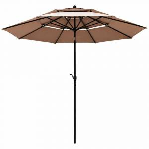 Overstock 10FT 3-Tier Double Vented Patio Umbrella Sun Shade (Red)