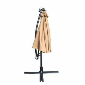 Overstock 10-ft Cantilever Patio Umbrella With LED (Khaki)