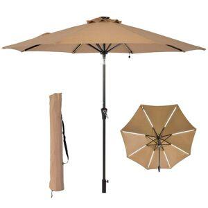 Overstock 9ft Patio Umbrella Solar Light Beige Outdoor Patio Umbrella (Beige)