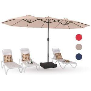 Overstock PHI VILLA 15ft Patio Umbrella Double-Sided Outdoor Market Twin Umbrella (Beige)