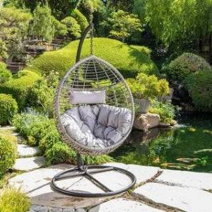 Christopher Knight Home Layla Wicker Hanging Chair by Christopher Knight Home (Gray)