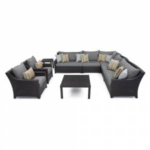 RST Brands Deco 9-piece Corner Sectional and Club Chair Set with Charcoal Grey Cushions (OP-PESS9-CHR-K)