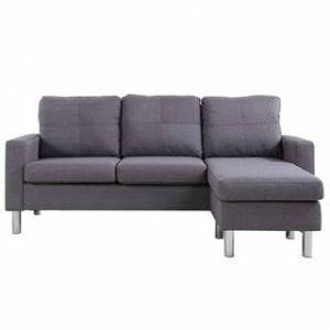 Madison Home Small Space Linen Fabric Sectional Sofa with Reversible Chaise (Assembly Required - Dark Grey - Chaise)