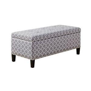 Madison Park Tessa Grey Tufted Top Storage Bench (Wood - Grey - Fabric)