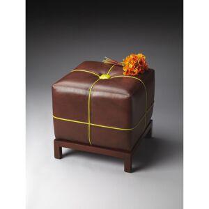 Butler Handmade Leather Bunching Ottoman (India) (Medium Brown)