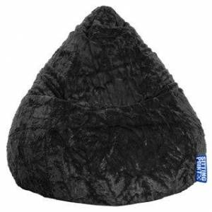 Gouchee Home Sitting Point Faux Fur Extra Large Fluffy Bean Bag (Black)