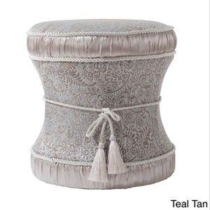 Gracewood Hollow Zimunya Decorative Vanity Stool (Upholstered/Fabric - teal tan)