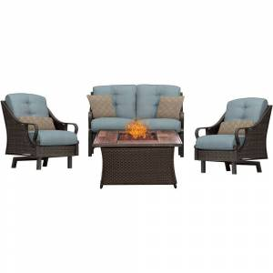 Hanover Outdoor Ventura 4-Piece Fire Pit Chat Set in Ocean Blue (Brown/Blue)
