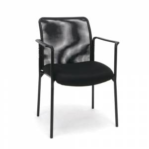 OFM Mesh Upholstered Stacking Side Chair with Arms, Black (Side Chair with arms)