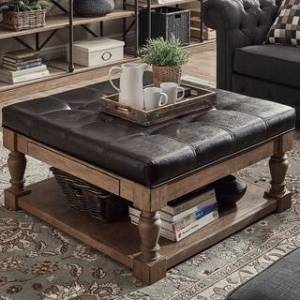 iNSPIRE Q Lennon Baluster Storage Tufted Cocktail Ottoman by iNSPIRE Q Artisan (Dark Brown Faux Leather- Dimpled Tufts)