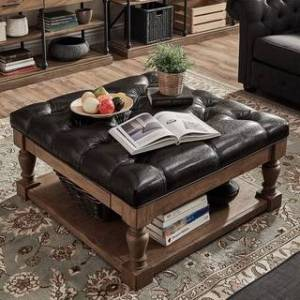 iNSPIRE Q Lennon Baluster Storage Tufted Cocktail Ottoman by iNSPIRE Q Artisan (Dark Brown Faux Leather- Button Tufts)