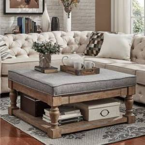 iNSPIRE Q Lennon Baluster Storage Tufted Cocktail Ottoman by iNSPIRE Q Artisan (Grey Linen- Smooth Top)