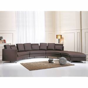 Overstock Curved Sectional Sofa - Brown Leather ROTUNDE