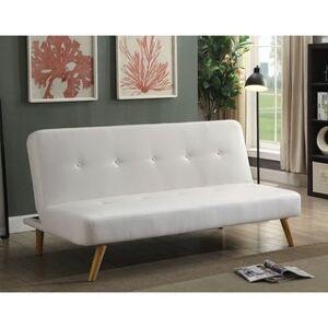 Furniture of America Fosh Mid-century Modern Faux Leather Futon Sofa (White)