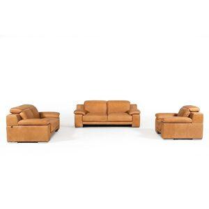 BSD National Supplies Marcelino Cognac Italian Genuine Leather 3-piece Living Room Set