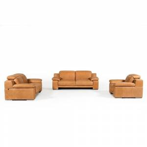 BSD National Supplies Marcelino Cognac Italian Genuine Leather 3-piece Living Room Set