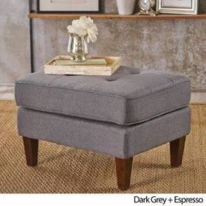 Christopher Knight Home Nasir Mid Century Modern Button Tufted Fabric Ottoman by Christopher Knight Home (Dark Grey)
