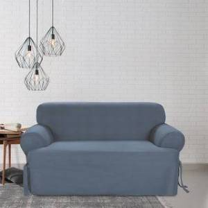 Sure Fit Cotton Classic T-cushion Loveseat Slipcover (Bluestone)