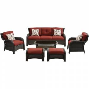 Hanover Strathmere 6-Piece Lounge Set in Crimson Red