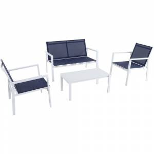 Md Mod Furniture 4-piece Harper Navy/White Aluminum Sling Seating Set