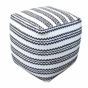 Christopher Knight Home Layne Handcrafted Boho Fabric Pouf by Christopher Knight Home (Solid - Modern & Contemporary - natural + black - Small - Pouf - Assembled - Cotton)