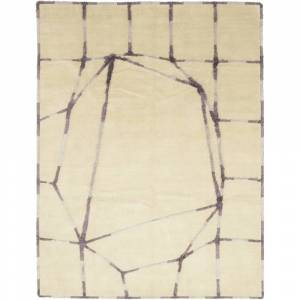 Overstock Contemporary Modern One-of-a-Kind Hand-Knotted Area Rug - 9 x 12 (9 x 12 - Ivory)