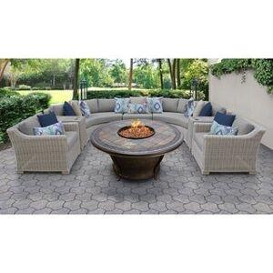 TK Classics Coast 8 Piece Outdoor Wicker Patio Furniture Set 08h (Grey)