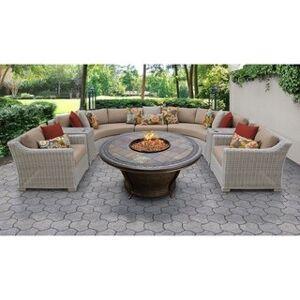 TK Classics Coast 8 Piece Outdoor Wicker Patio Furniture Set 08h (Wheat)