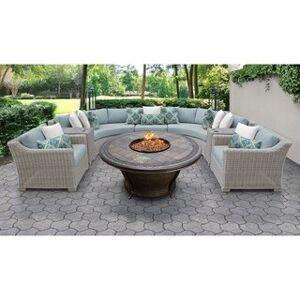 TK Classics Coast 8 Piece Outdoor Wicker Patio Furniture Set 08h (Spa)
