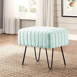 """Overstock Serenta Super Mink Faux Fur Ottoman Bench - 33 Color Options (19"""" x 13"""" x 17"""" - Bleached Aqua)"""