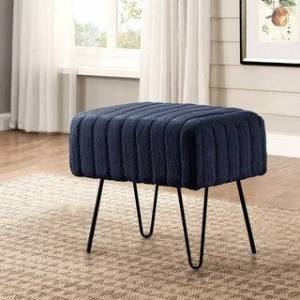 "Overstock Serenta Super Mink Faux Fur Ottoman Bench - 33 Color Options (19"" x 13"" x 17"" - Parisain Night)"