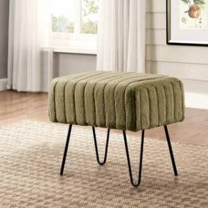 "Overstock Serenta Super Mink Faux Fur Ottoman Bench - 33 Color Options (19"" x 13"" x 17"" - Olive)"
