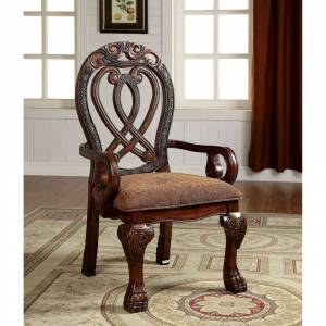 Furniture of America Arm Chair, Cherry, Pack of Two (White)