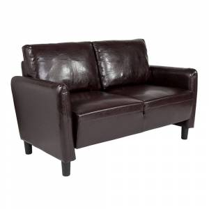 Offex Contemporary Living Room Upholstered Loveseat in Brown Leather